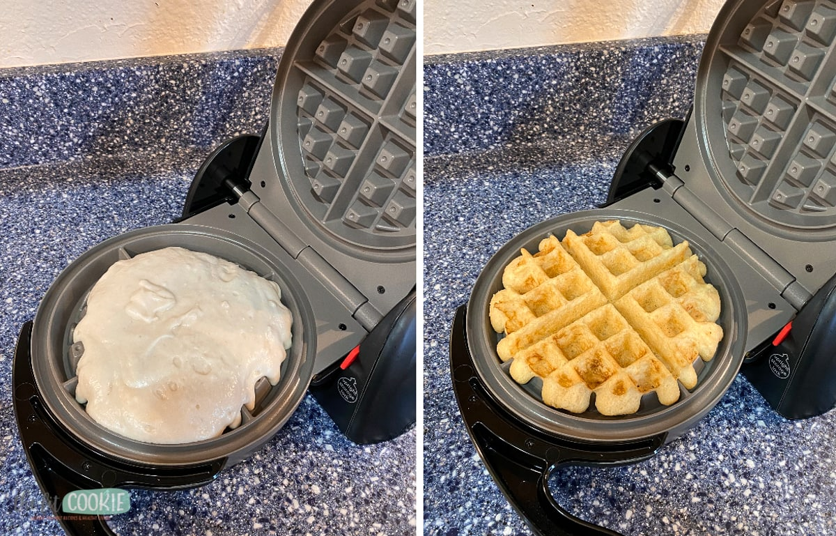 photo collage of waffle maker with batter on it