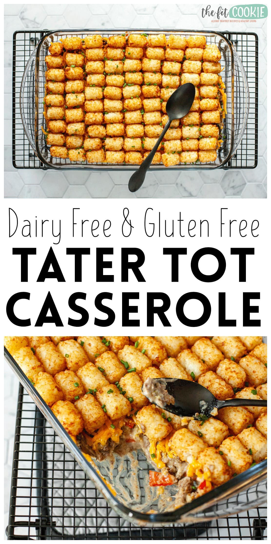 photo collage of tater tot casserole in a glass baking pan