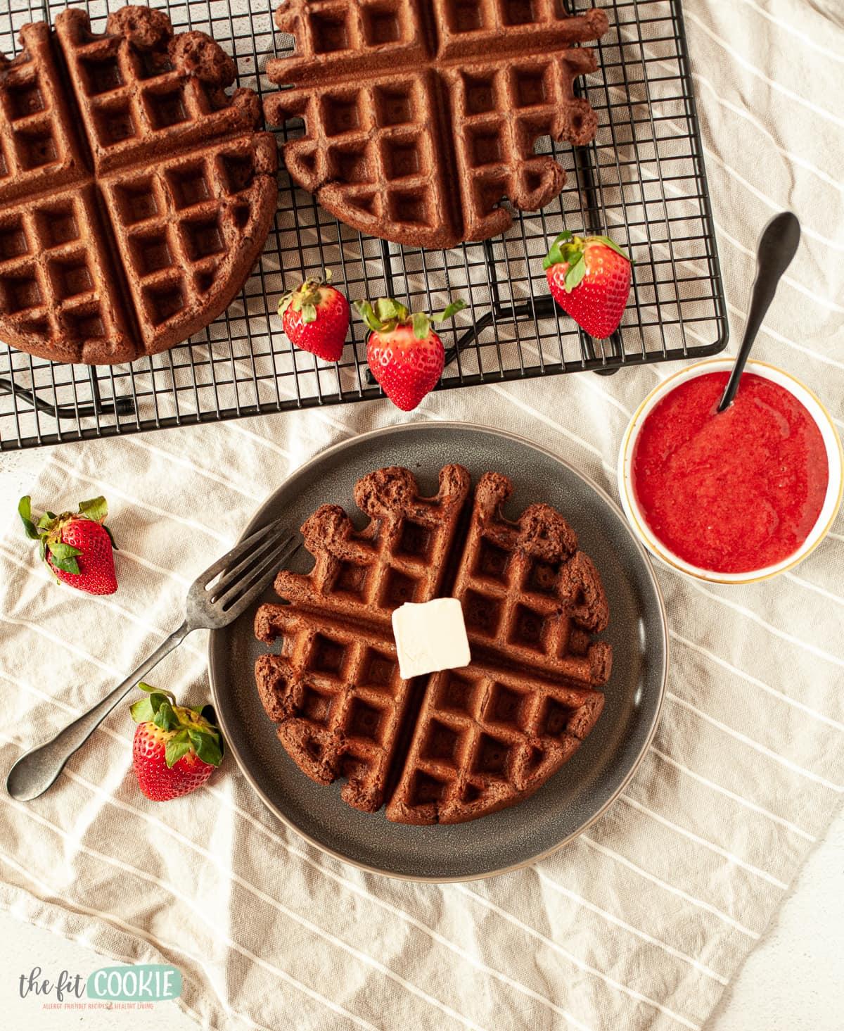 overhead photo of chocolate waffles