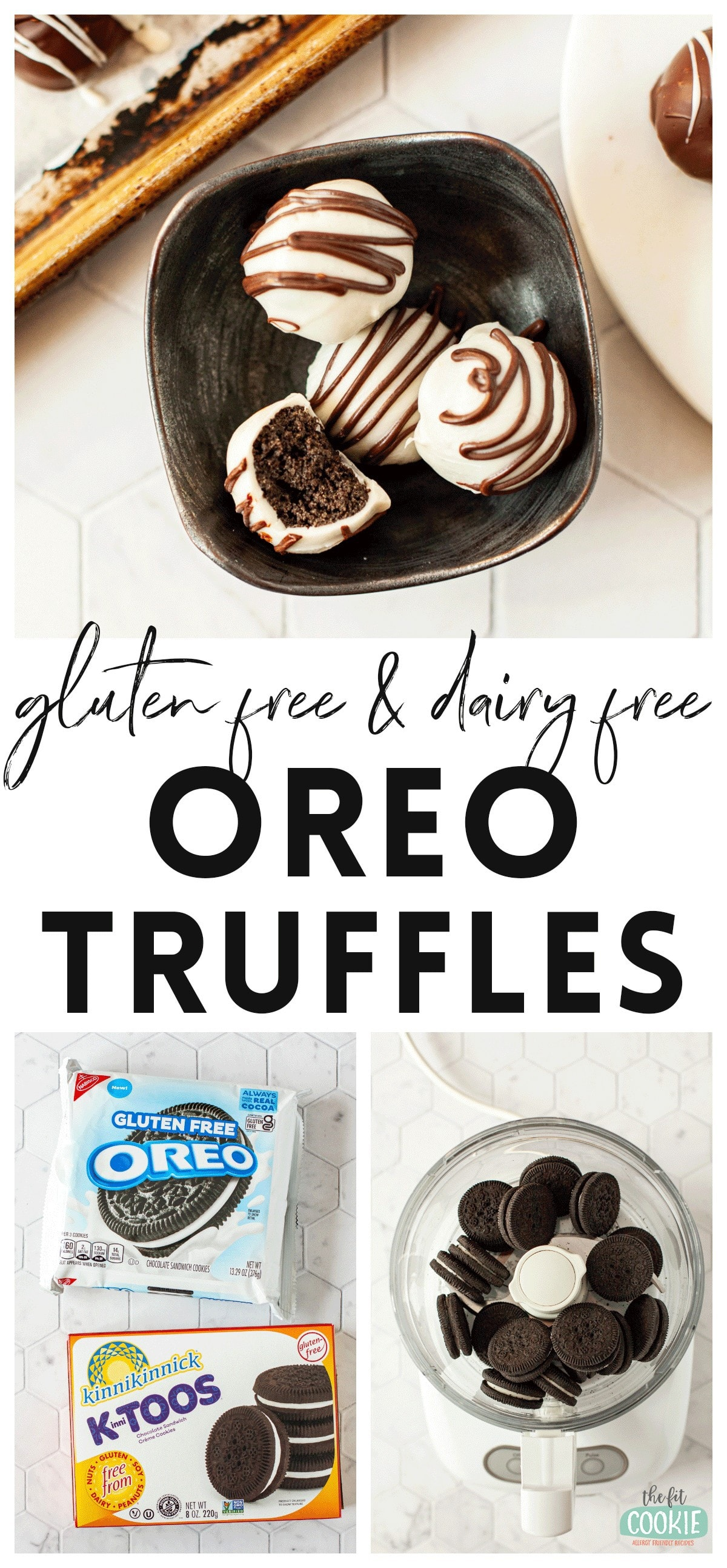 photo collage of dairy free and gluten free oreo truffles