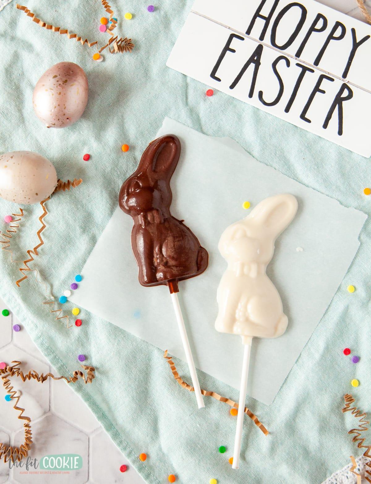 chocolate easter bunny lollipops ona  blue napkin