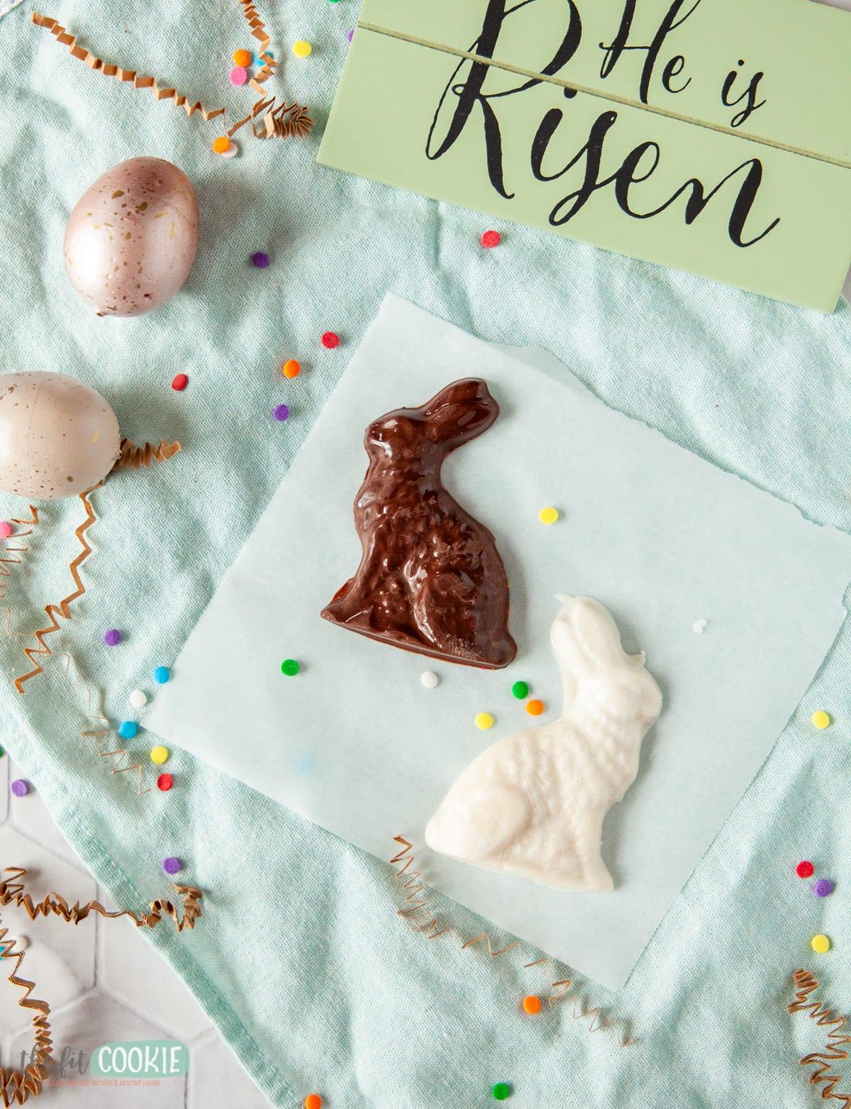 small homemade chocolate bunnies