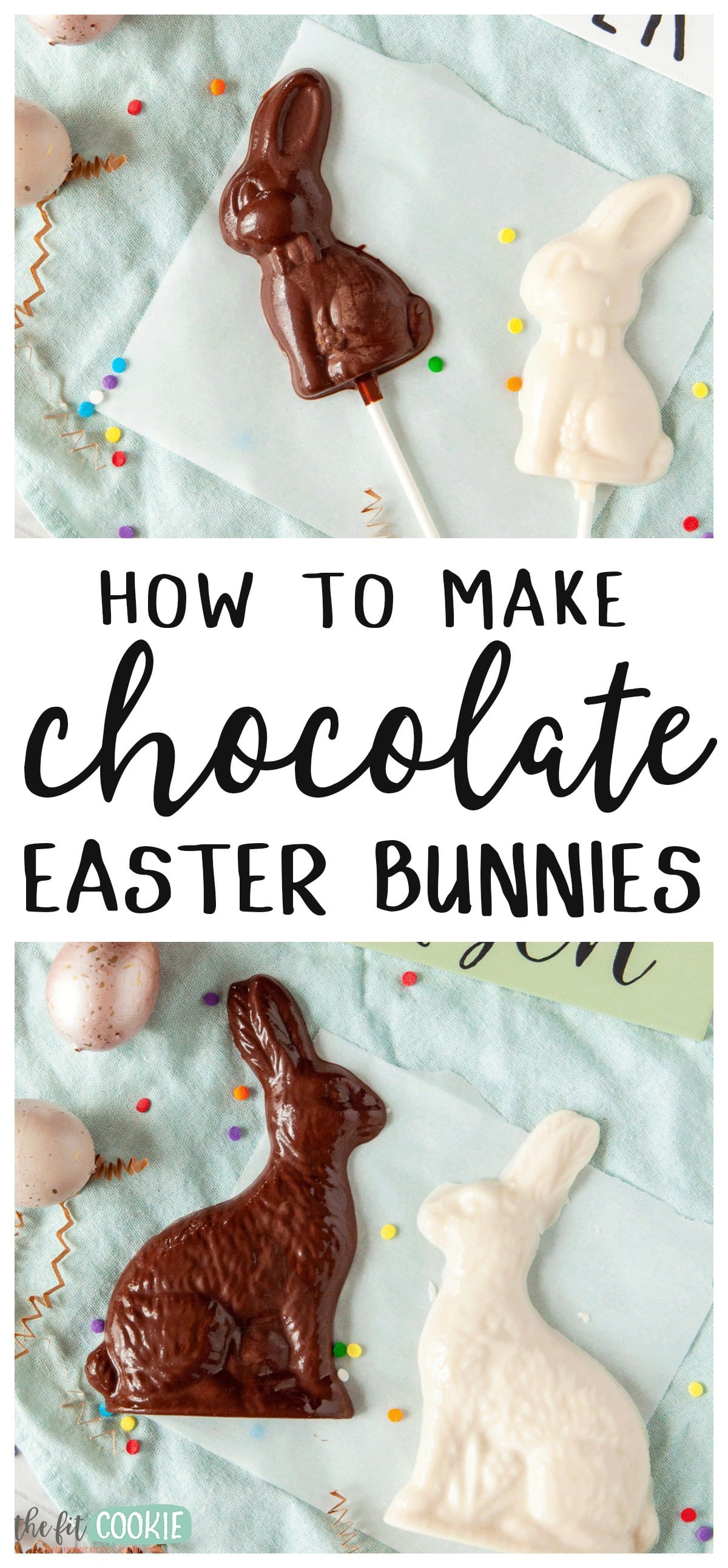 photo collage of homemade chocolate easter bunnies