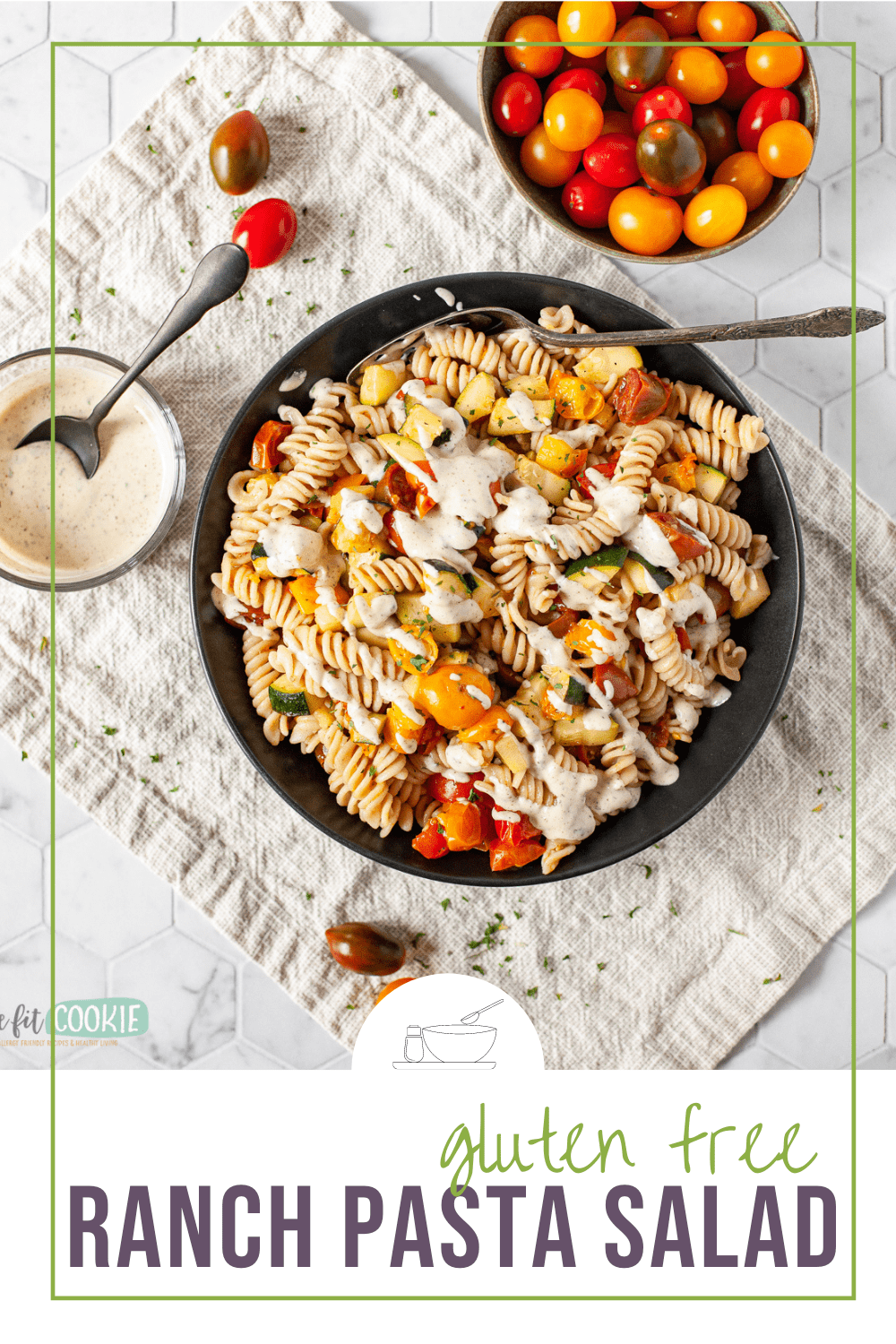 photo of pasta salad with text overlay