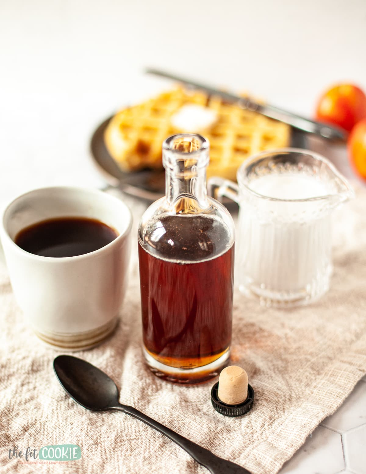 glass bottle of homemade coffee or pancake syrup