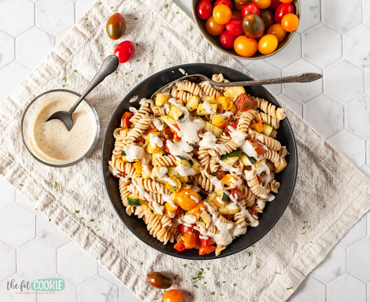 overhead photo of ranch pasta salad in a large black bowl