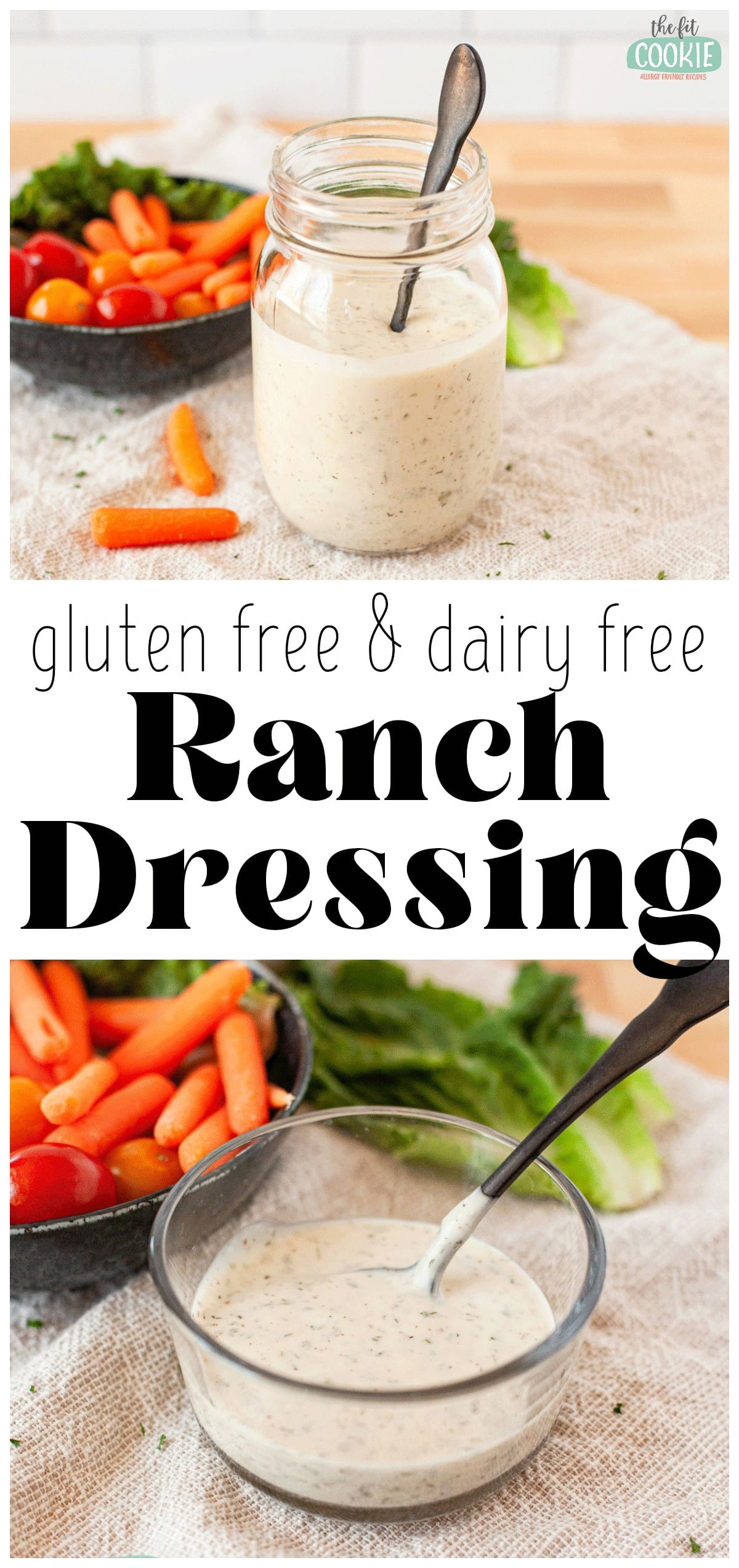 photo collage of dairy free ranch dressing in a glass jar