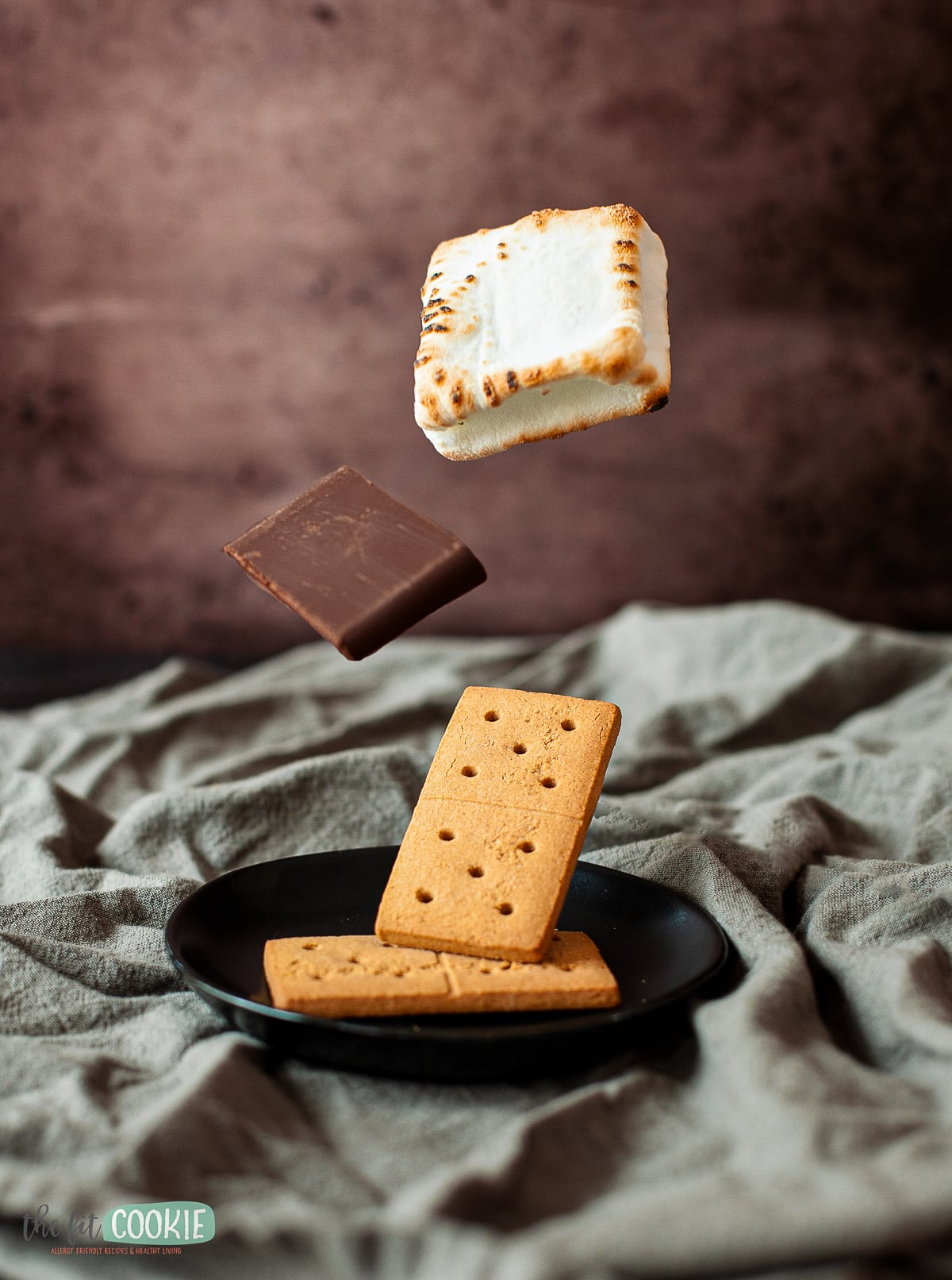 floating food photo of s'mores ingredients