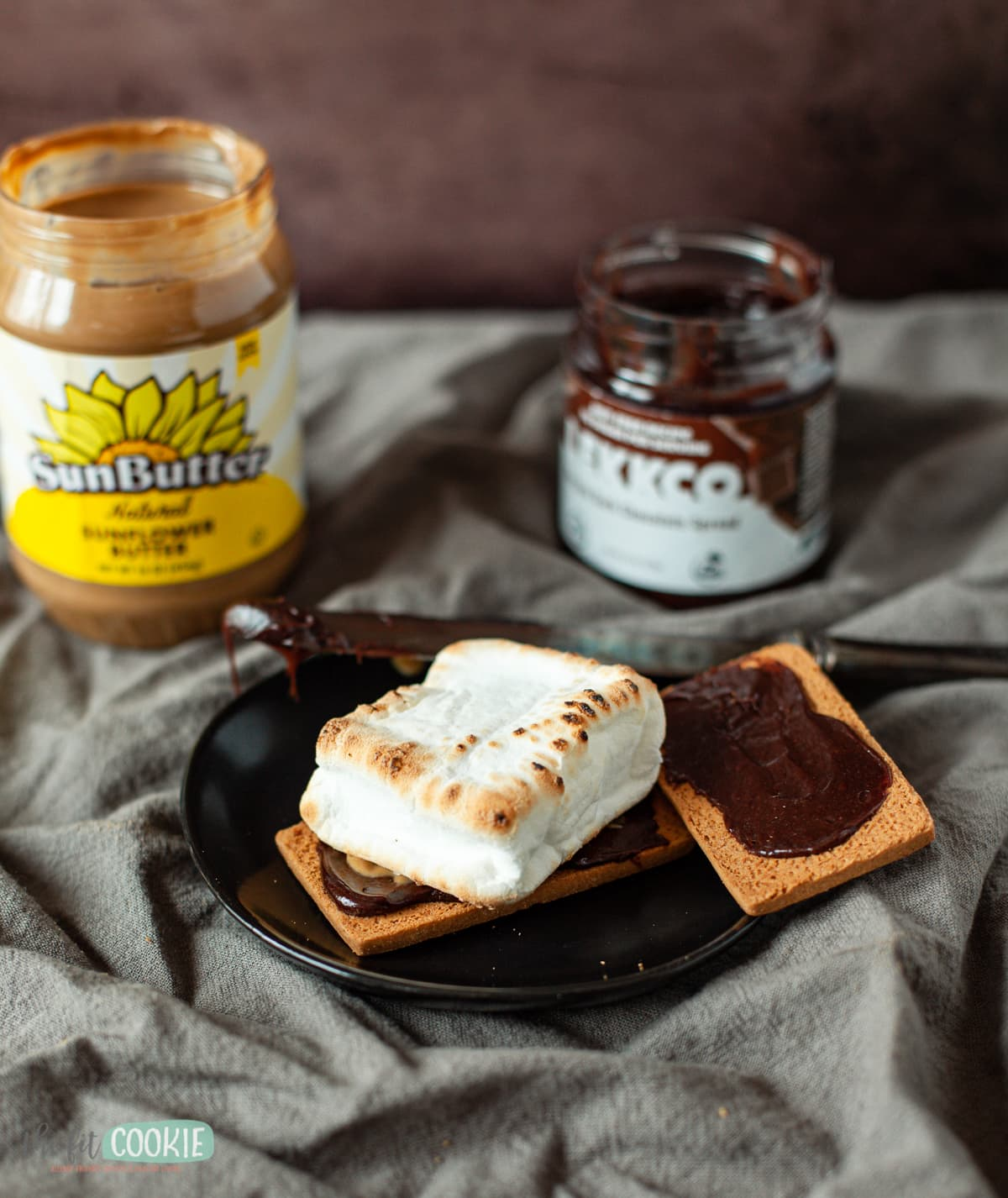 Photo of s'mores made with chocolate spread instead of chocolate bars