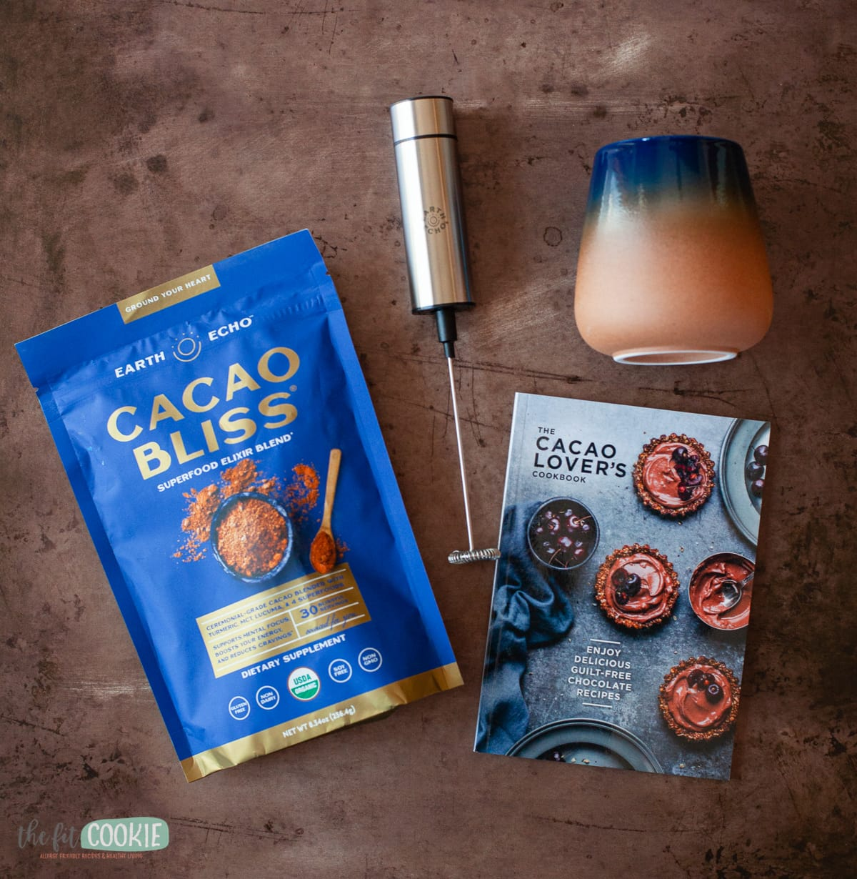 overhead photo of cacao bliss and related products