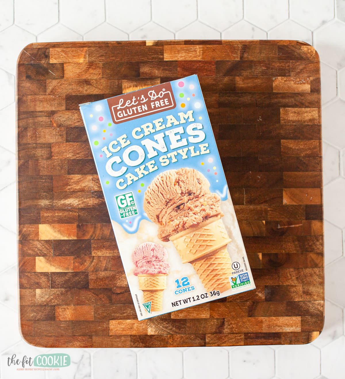 overhead photo of box of gluten free ice cream cones