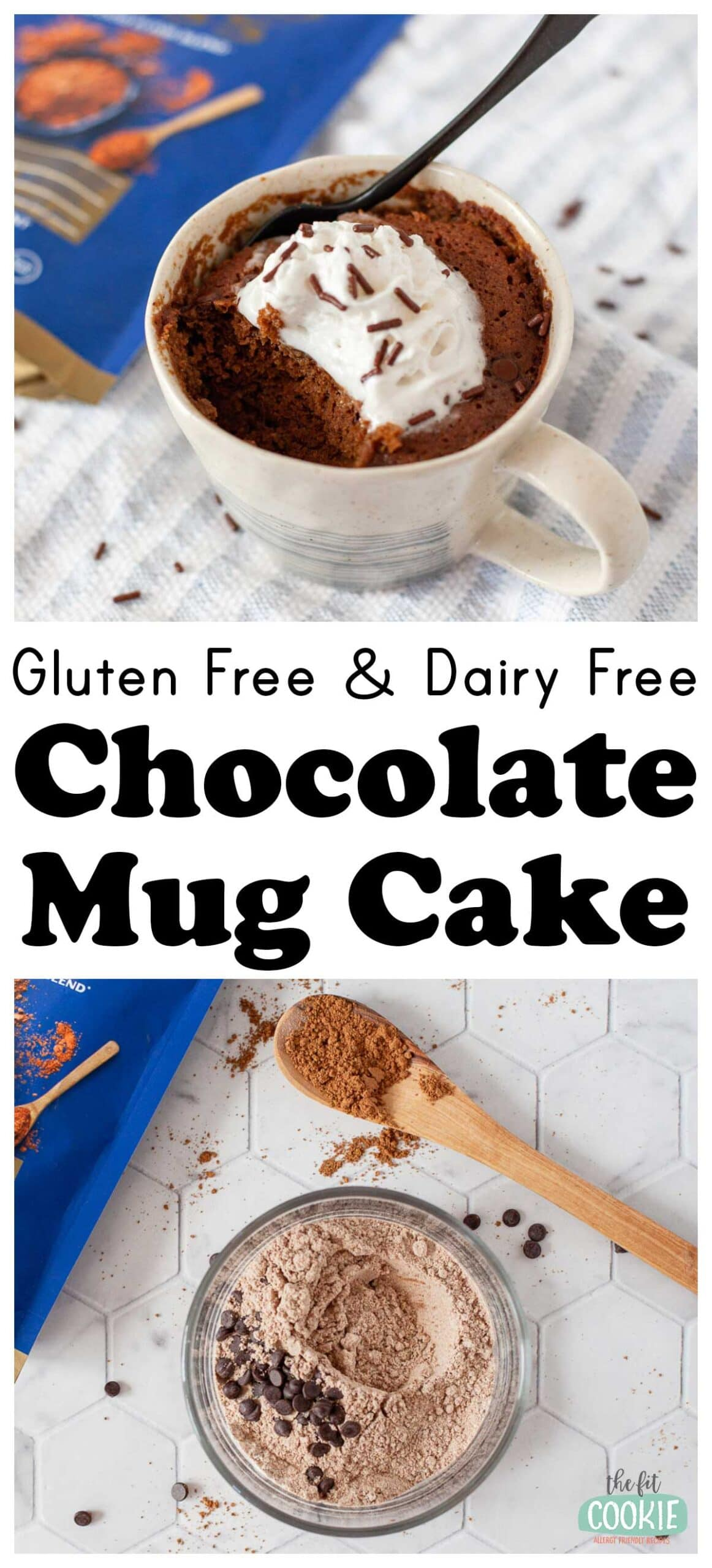 photo collage of chocolate mug cake in a cup with dairy free whipped cream on top