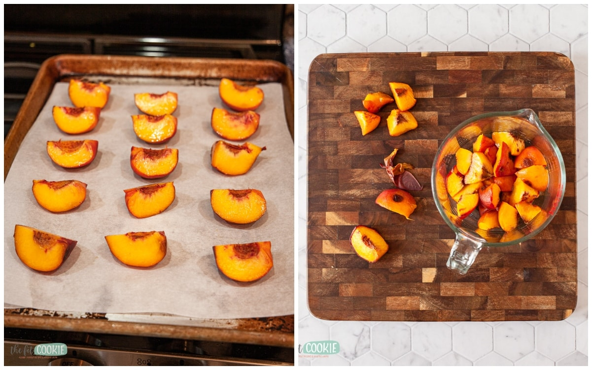 photo collage of peaches roasting on a cookie sheet and peeled peaches cut up in a bowl