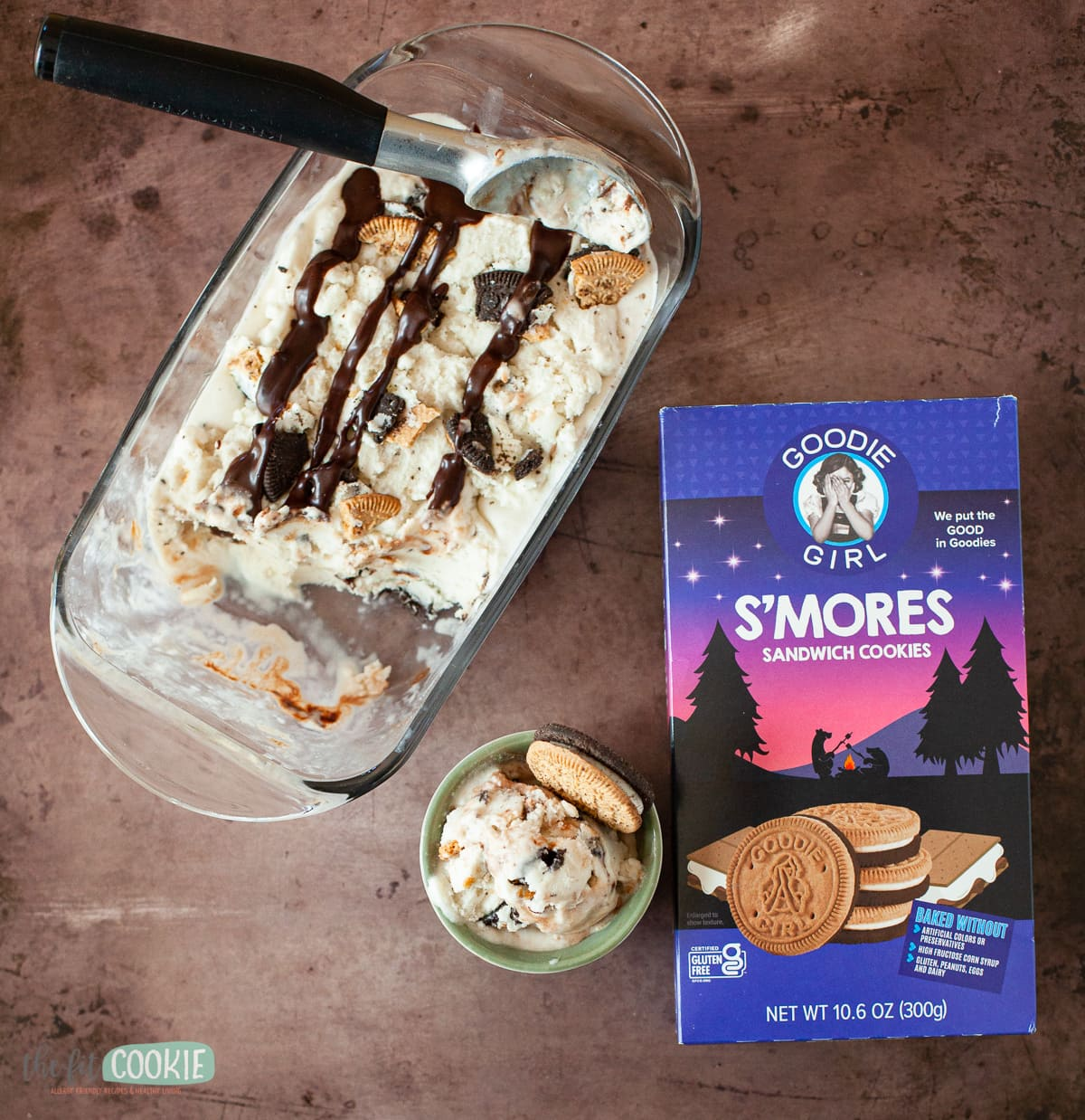 ice cream next to package of gluten free s'mores sandwich cookies