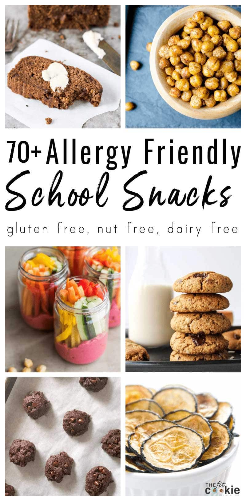 photo collage of various allergy friendly school snack recipes