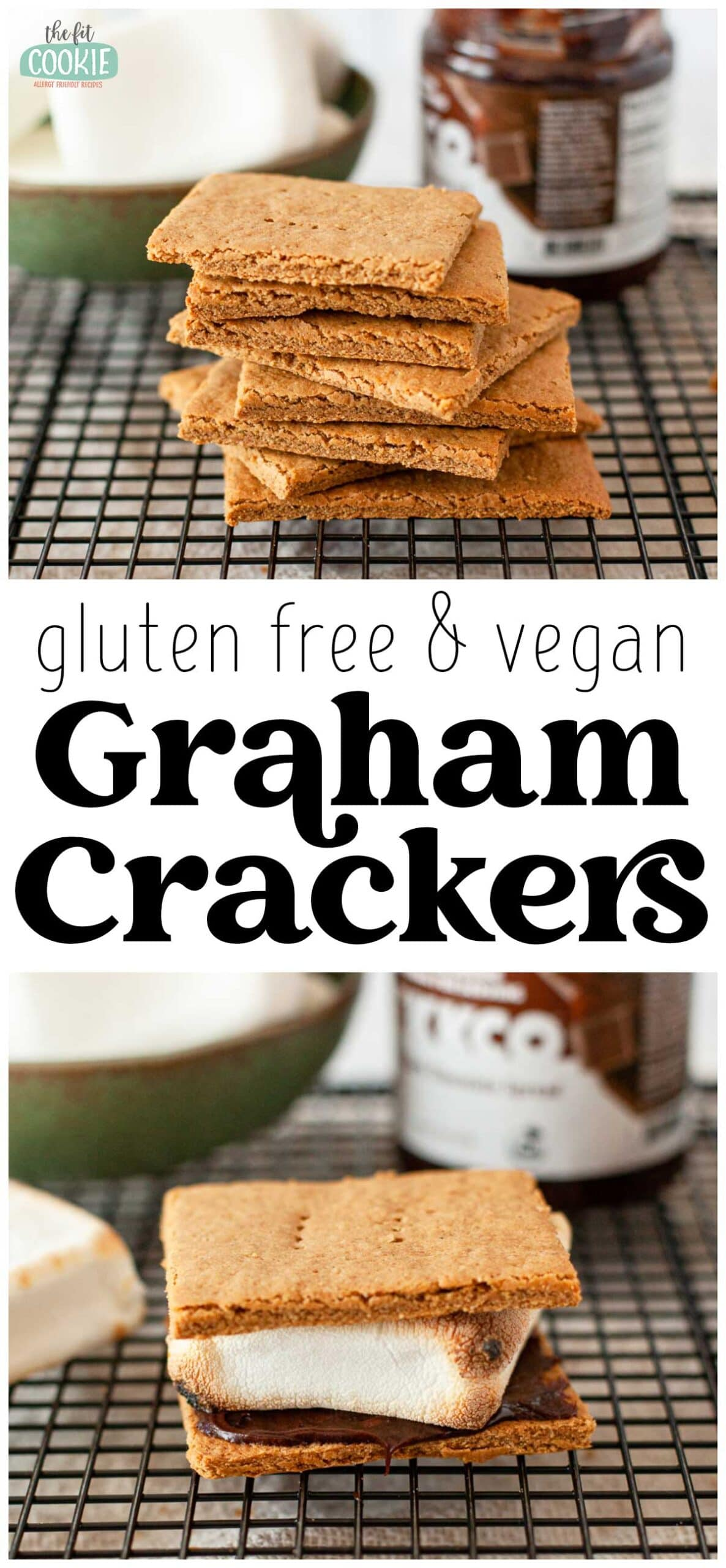 photo collage of gluten free graham crackers on a cooling rack