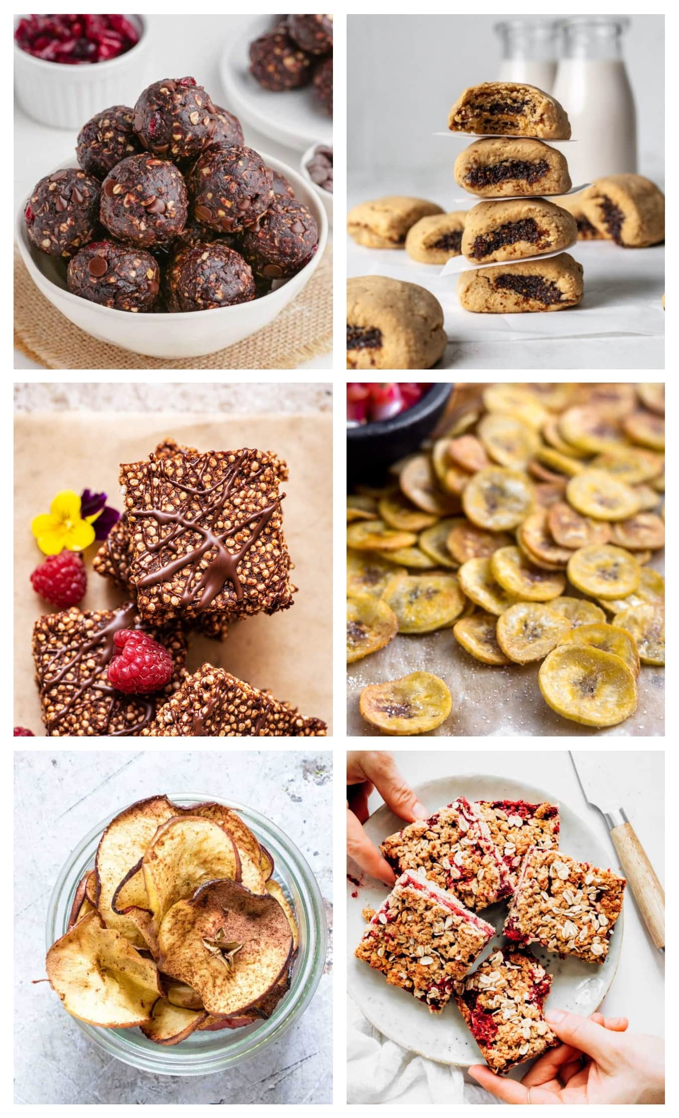 photo collage of various allergy friendly lunchbox snacks