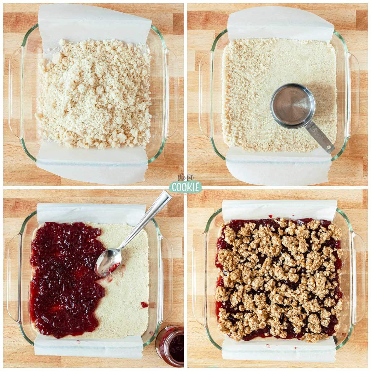 overhead photo collage of steps to make raspberry crumb bars
