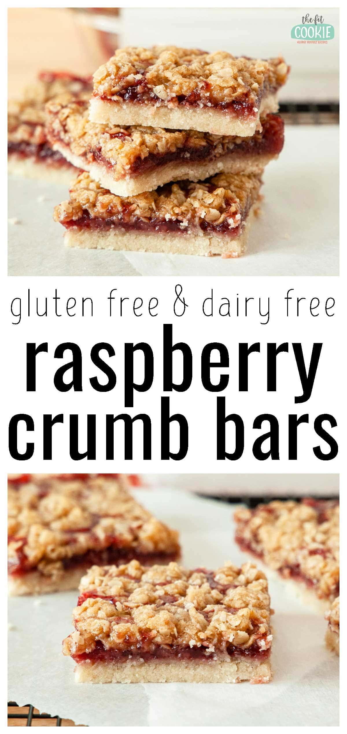 photo collage of gluten free raspberry crumb bars