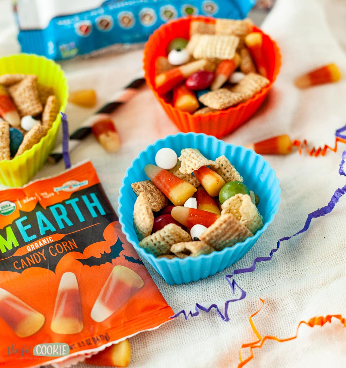 silicone muffin liners filled with halloween trail mix