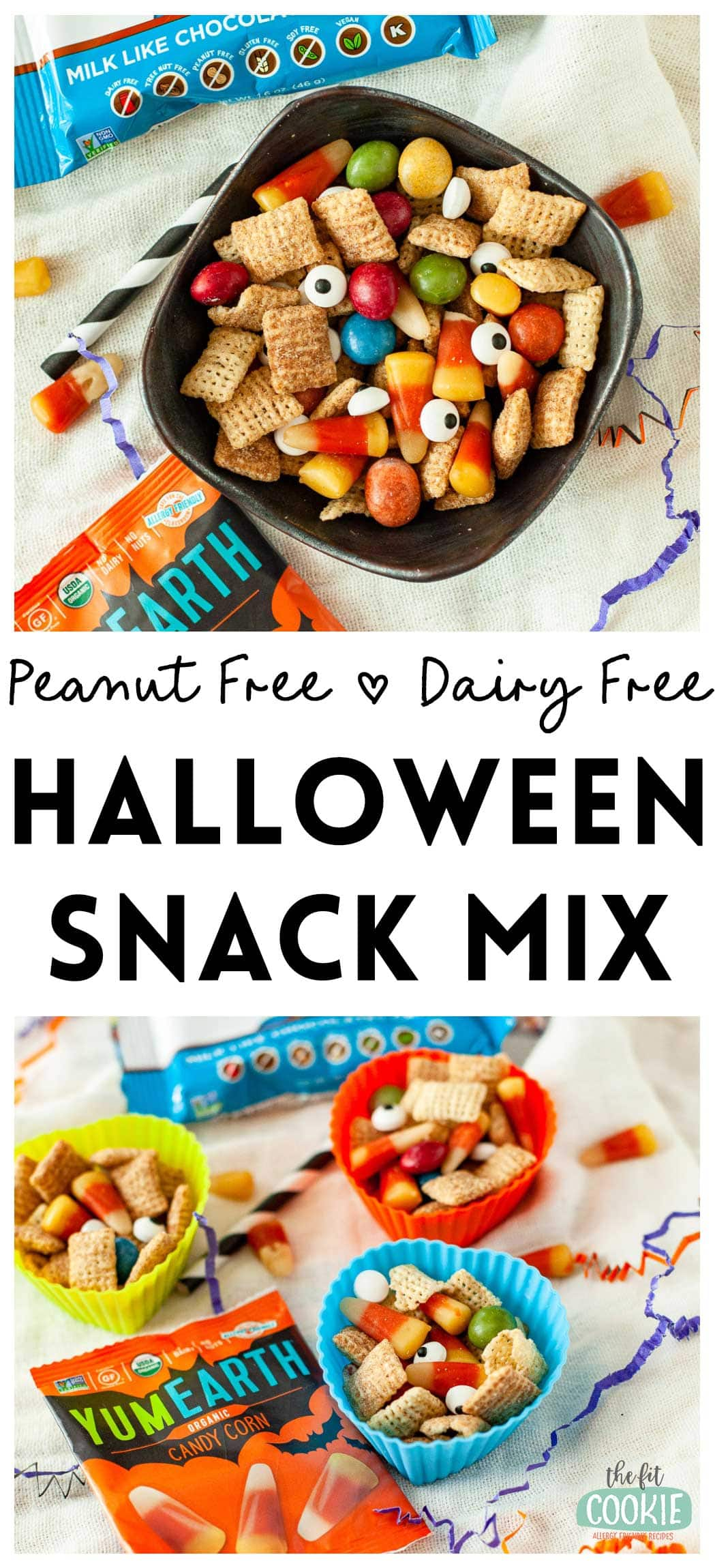 photo collage of allergy friendly halloween snack mix